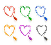 Set for design with pencils and hearts Stock Images