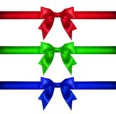 Set for design. Red blue green Christmas ribbon, bow, gift Stock Photos