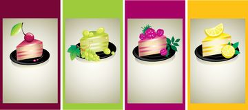 Set of design samples with delicious cheese cakes Royalty Free Stock Photography