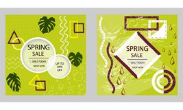 Set of Design for spring sale web banners, posters. Good for social media, email, print, ads design and promotional material. Vector royalty free illustration