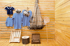 Set-design and the stage-property of a photographi. Fishing, sea stage-property and set-design in a photographic studio Stock Images