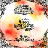 Set of design style Happy Thanksgiving Day logotype, badge and icon on watercolor vector illustration