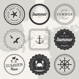 Set of 9 design summer elements, frames, borders Stock Photo