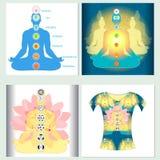 Set design t-shirt india meditation yoga chakra. Vector illustra Royalty Free Stock Photo