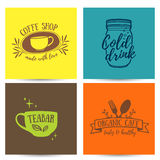 Set design template menu, card, poster with retro vintage logos for coffee shop, tea bar. Stock Photography