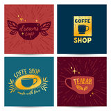 Set design template menu, card, poster with retro vintage logos for coffee shop Royalty Free Stock Photo
