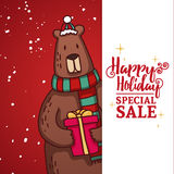 Set design template New Year`s discount banner. Christmas poster with a cute Bear  Royalty Free Stock Image