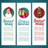 Set design template New Year`s vertical banner. Set brochure, postcard Christmas poster  Royalty Free Stock Photos