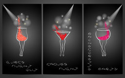 Set of design template for party invitations with cocktails. vector illustration