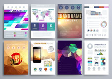 Set of Design Templates for Brochures, Flyers, Mobile Technologies, Applications, and Online Services, Typographic