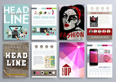 Set of Design Templates for Brochures, Flyers, Mobile Technologi Stock Images