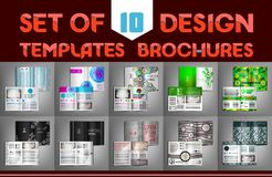 Set of 10 design templates brochures. Vector illustration. royalty free illustration