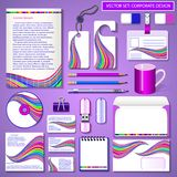 Set of design templates for business color wave Royalty Free Stock Photos