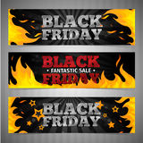 A set of design templates horizontal web banners. Coupon, poster for Black Friday. Volume text with background and pattern of fire. Vector illustration Royalty Free Stock Image