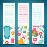 Set of design templates for vertical banners with childhood`s patterns. Newborn staff for decorating flyers. Clothes. Toys, accessories for babies. Vector Royalty Free Stock Images