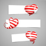 A set of design templates white horizontal banners, emblems, badges with the decor of red striped 3d hearts. Good for Stock Photography