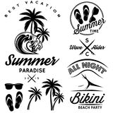 Set for design to topic summer with bikini party, sunglasses, flip-flops Royalty Free Stock Photography
