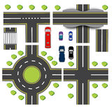 Set design of transport interchanges. Intersections of different highway. Roundabout Circulation. Transport. Bridge Royalty Free Stock Photography
