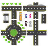 Set design for a transport node. The intersections of various roads. Roundabout Circulation. Transport. illustration Royalty Free Stock Photo