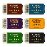 Set designed cinema tickets top view isolated on white background. Colorful tickets for movie and film. Vector illustration Royalty Free Stock Photos
