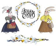 Set of designer items: easter wreath of daffodils, seamless flower brush and fashionable rabbits in dresses royalty free illustration