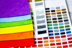 Set designer palettes on working desk close up royalty free stock images