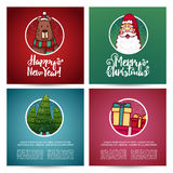 Set of designs Christmas cards template. Christmas card with Santa Claus and cute bear. Stock Photography
