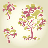 Set of designs with decorative tree Royalty Free Stock Photo