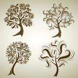 Set of designs with tree from leafs. Thanksgiving Royalty Free Stock Images