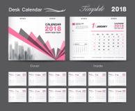 Set Desk Calendar Pink template design, Orange cover, Set of 12 Months. Week start Sunday Royalty Free Stock Images