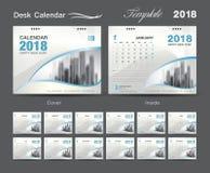 Set Desk Calendar 2018 template design, blue cover. Set of 12 Months, Week start Sunday, advertisement layout Royalty Free Stock Photo