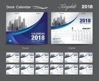 Set Desk Calendar 2018 template design, blue cover. Set of 12 Months, Week start Sunday, advertisement layout Stock Photos