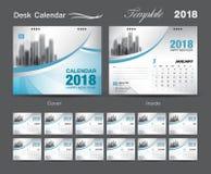 Set Desk Calendar 2018 template design, blue cover, Set of 12 Mo. Nths, Week start Sunday, advertisement layout Stock Photos