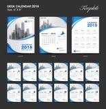 Set Desk Calendar 2018 template design, blue cover, Set of 12 Months. Week start Sunday vector illustration