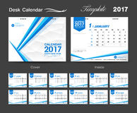 Set Desk Calendar 2017 template design, cover Desk Calendar Stock Photo