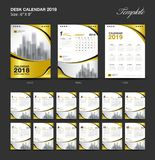 Set Desk Calendar 2018 template design, gold cover. Set of 12 Months, Week start Sunday Stock Photo