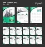 Set Desk Calendar 2018 template design, green cover. Set of 12 Months, Week start Sunday Stock Photo
