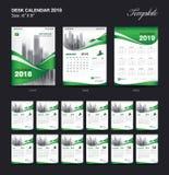 Set Desk Calendar 2018 template design, Green cover, Set of 12 Months. Week start Sunday stock illustration