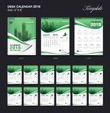 Set Desk Calendar 2018 template design, Green cover, Set of 12 Months. Week start Sunday Vector Illustration