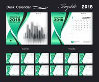 Desk Calendar 2018 template layout design, Green cover Stock Images