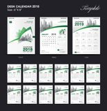 Set Desk Calendar 2018 template design, Green cover, Set of 12 Months. Week start Sunday Royalty Free Stock Photography
