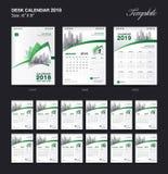Set Desk Calendar 2018 template design, Green cover, Set of 12 Months. Week start Sunday Royalty Free Illustration