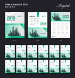 Set Desk Calendar 2018 template design, Green cover, Set of 12 Months. Week start Sunday Royalty Free Stock Images