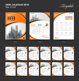 Set Desk Calendar 2018 template design, Orange cover. Set of 12 Months, Week start Sunday Royalty Free Stock Photo