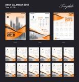 Set Desk Calendar 2018 template design, orange cover. Set of 12 Months, Week start Sunday Royalty Free Stock Images