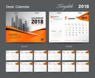 Set Desk Calendar 2018 template design, Orange cover. Set of 12 Months, Week start Sunday Royalty Free Stock Photography
