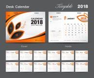 Set Desk Calendar 2018 template design, Orange cover. Set of 12 Months, Week start Sunday Stock Photo