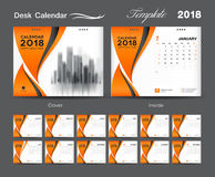 Set Desk Calendar 2018 template design, Orange cover. Set of 12 Months, Week start Sunday Stock Photos