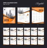 Set Desk Calendar 2018 template design, red cover. Set Desk Calendar 2018 template design, Orange cover, Set of 12 Months, Week start Sunday Royalty Free Stock Images
