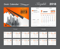 Set Desk Calendar 2018 template design, Orange cover, Set of 12. Months, Week start Sunday Stock Photography